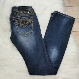 Grace in LA Thick Stitch Bejeweled Jeans Size 26